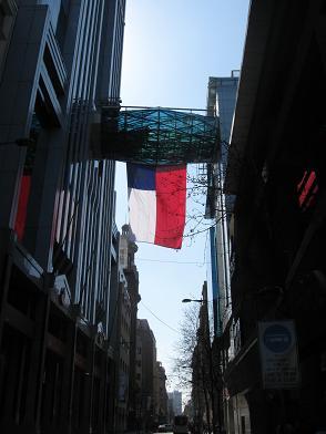 Bandera de Chile en calle Bandera