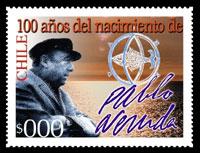 Sello Postal en Homenaje a Pablo Neruda Premio Nobel de Literatura