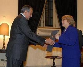 Sr. Ashraf Youssef Abad Elhalim Zaa Zaa Exelentisimo Embajador de la Republica Arabe de Egipto y Presidenta Michelle Bachelet de la Republica de Chile