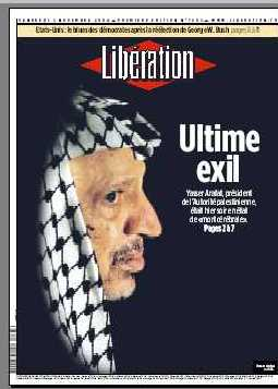 Foto  de S.E. Yasser Arafat en el diario frances Liberation
